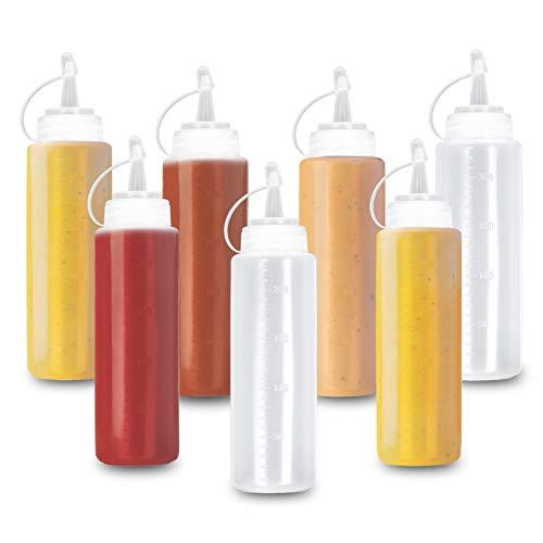 Matana 8 Biberon Salsas con Tapa, Dispensador de Botellas de Plástico - 240ml