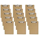 Mini Clipboards, 6 x 9 Inches Small Hardboard Clipboard, Pack of 15