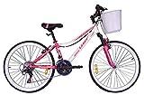Umit Bicicleta 24 Pulgadas Diana, Partir de 9 años, con Cambio Shimano y Suspension Delantera, Unisex niños, Rosa/Blanca