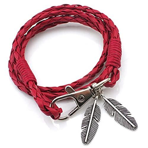 Marekyhm - Pulsera trenzada de cuero para mujer y hombre (color metálico: rojo)
