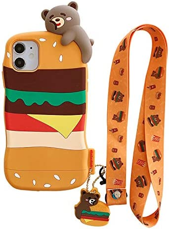 Shockproof Ultra Thick Soft Silicone Case Cover for Apple iPhone 11 iPhone11 Brown Bear Hamburger Beef Burger Charm Neck Strap 3D Cartoon Cute Lovely Funny Kids Girls Women