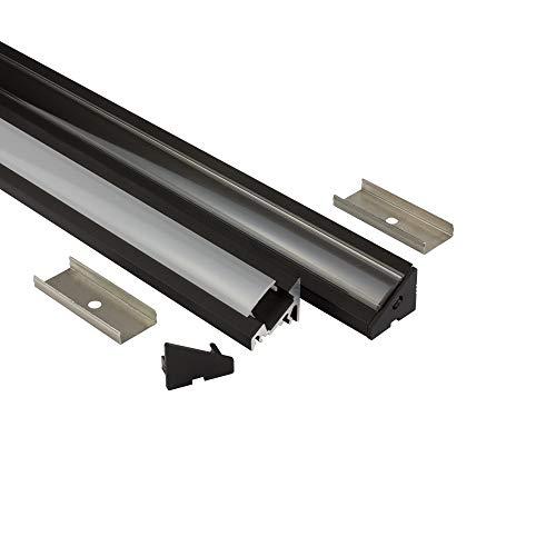 LED Aluprofil A20 schwarz Eckprofil 30° + Abdeckung Alu Schiene 30 grad Leiste für LED-Streifen-Strip 2m opal