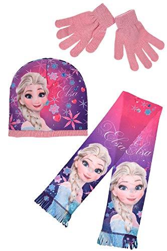 Set van 3 mutsen sjaal handschoenen kinderen Disney Frozen roze TG 52
