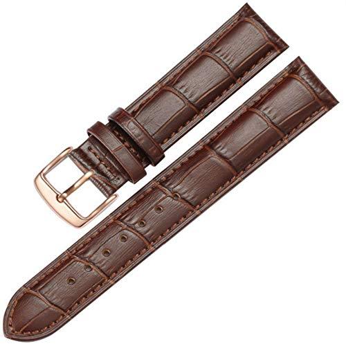 Correa de cuero Correa de reloj de cuero de repuesto con hebilla de oro rosa plateado y dorado Correa de reloj marrón-Brown_Rosegold_20mm