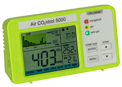 TFA Dostmann 31.5008.02 AIRCO2NTROL 5000 CO2-Messgerät mit Datenlogger (grün)