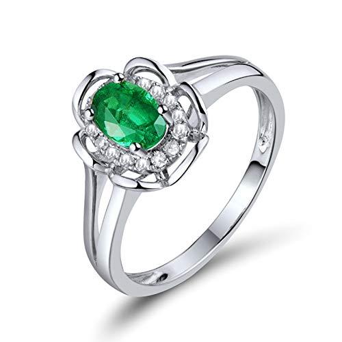 Beydodo Anillos Mujer Compromiso,Anillos Oro Blanco Mujer 18K Plata Verde Flor Oval Esmeralda Verde 0.55ct Diamante 0.1ct Talla 17(Circuferencia 57MM)