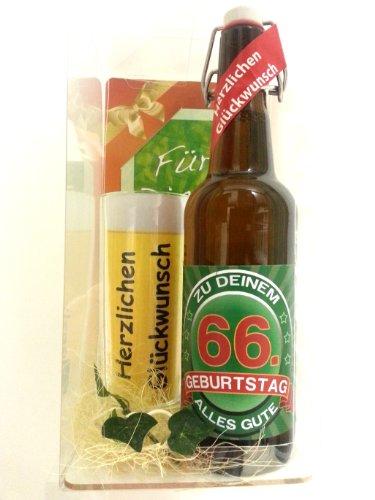 SünGross Geschenk Set, Bierset Bier Geschenk zum 66. Geburtstag das bei Frau und Mann Immer gut ankommt, Bierflasche mit Etikett, Glas Bierkrug und Geschenk Postkarte