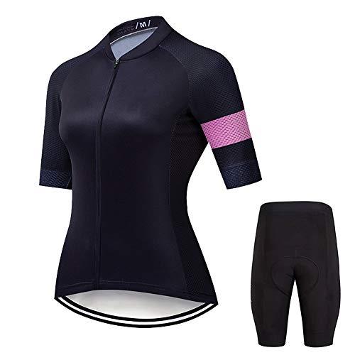 Elastisches komprimiertes Fahrradtrikot für Frauen,schnell trocknende,atmungsaktive Fahrrad-Fahrradtrikots Outdoor-Offroad-Fahrradhemden Sommer-Fahrradtrikot mit Tasche