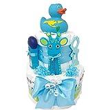 Windeltorte Badeentchen Hugo Blau 30tlg. Geschenk zur Taufe oder Geburt Geschenkfertig in Celophan verpackt. Auf Wunsch mit kostenlosen Grußkärtchen und