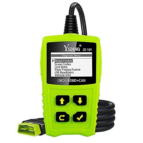 Ysding OBD2 Diagnosegerät OBD Code-Scanner-Fahrzeug-Fehlercodeleser arbeitet an Allen Autos mit OBD2 / EOBD/CAN-Modi und 16-Pin OBDII-Schnittstelle für Lesen und Löschen Fehlercode,Batterie Test