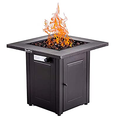 Outdoor Gas Propane Fire Pit Pits Firepit Fireplace Dinning Table Tables with Lid, Lava Stone, 28 Inch, Square, 48000BTU, ETL Certification, for Garden Backyard Deck Patio