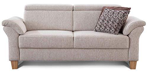 Cavadore 3-Sitzer Sofa Ammerland / Couch mit Federkern im Landhausstil / Inkl. verstellbaren Kopfstützen / 186 x 84 x 93 / Strukturstoff natur