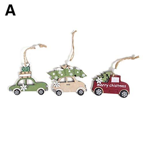 likeitwell 3 Pezzi Albero Di Natale Decorazione Abbellimenti di Legno Addobbi Appesa Ornamenti gorgeous