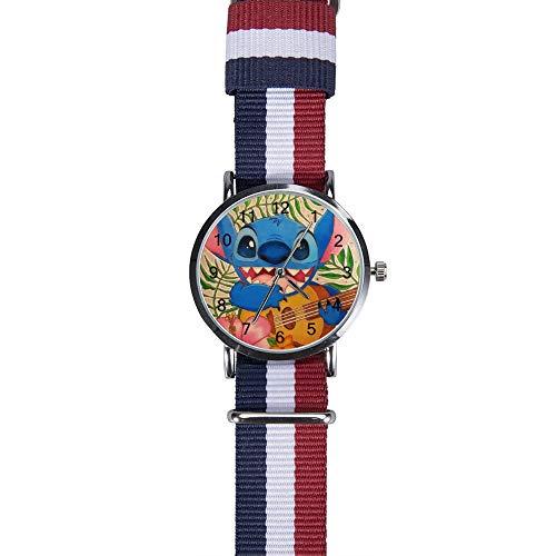 Stitch Play Gitarre Armbanduhr Freizeit Armbanduhr Quarz für Männer Frauen Kinder Freunde Geschenk