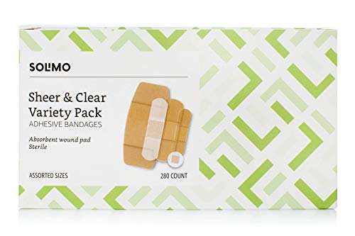 Amazon Brand - Solimo Adhesive Bandage Variety Pack, Sheer and Clear Bandages, Assorted Sizes, 280...