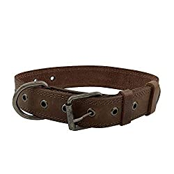Hide & Drink Rustic Leather Dog Collar For Medium Size Dog (10 to 19 Inches) Handmade, Bourbon Brown