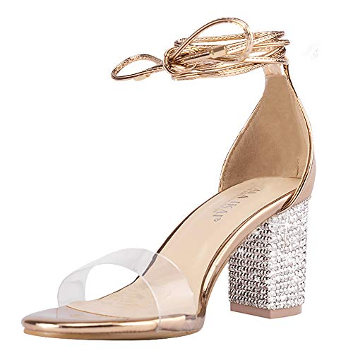 Women's Heels Sandals with Rhinestone Strappy Open Toe Clear Block Mid Heels Party Pumps Shoes for Party Wedding