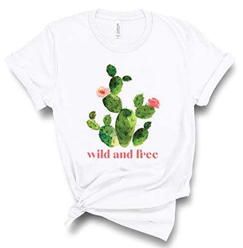 Toll2452 Kaktus-Shirt, wildes und freies Hemd, Kakteen, grafische T-Shirts für Frauen, Geburtstagsgeschenke für sie, Kaktus-T-Shirt, Pflanzenliebhaber Geschenk Tee M einfarbig