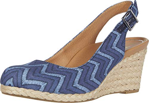 Vionic Women's Aruba Coralina Slingback Wedge - Espadrille Wedges with Concealed Orthotic Arch Support Navy Chevron 7 Medium US