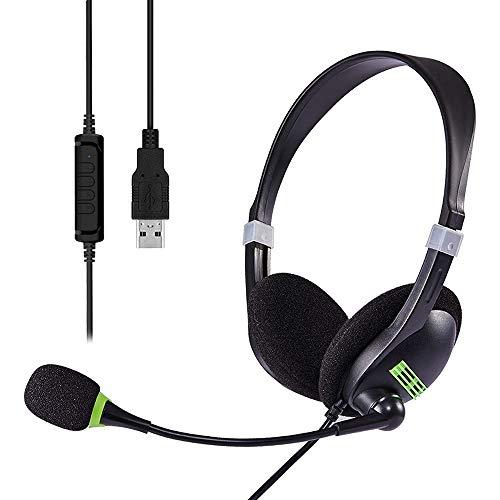 Computer-Headset, USB-Headset, PC-Headset mit Geräuschunterdrückung und Lautstärkeregler, super leicht, ultra-komfortabel, kabelgebundenes Headset für Büro, Callcenter, Online-Kurse, Chat (Black)