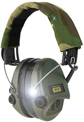 Sordin Supreme PRO X - Aktiver Gehörschutz mit LED-Lampe SOR75302-X-07 Elektronischer Gehörschützer Gel-Kits Camo-Band Grüne Cups