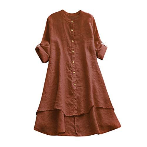 acction Vestido de Bolsillo a Color Sólido Mujer,Vestido Camisero Retro De Manga Larga Moda Otoño E Invierno Camisa Casual Vestido De Gran Tamaño