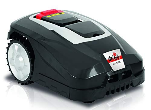 Grizzly Mähroboter MR 1000 Blackline bis 1000m² Rasenfläche, Regensensor, Diebstahlschutz, Bluetooth App Steuerung Inkl. Begrenzungskabel, Haken