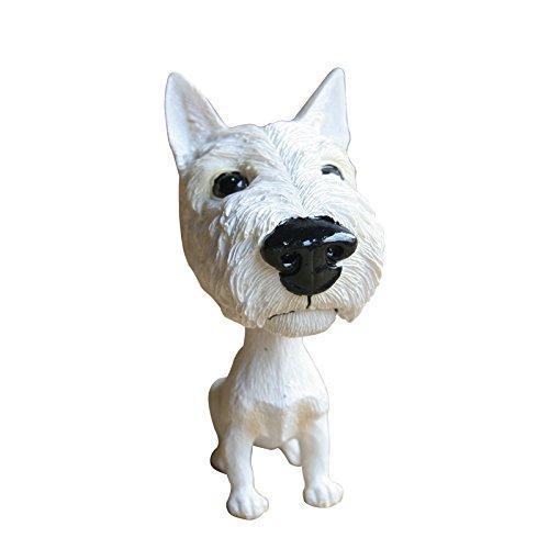 Smart_Art mignon Résine Décorations A fait Trembler SA Tête de chien Maison, voiture, jardin, jardin, décorations pour animal domestique blanc 1