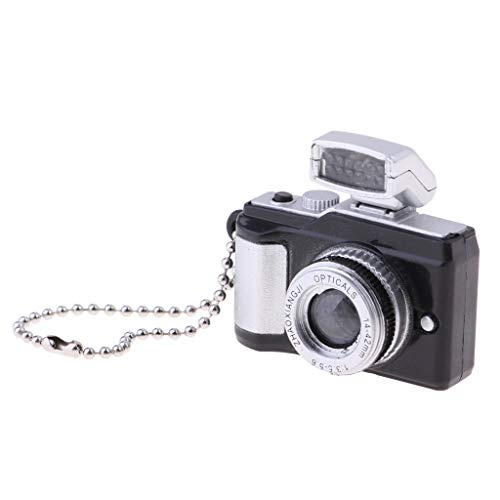 FLAMEER Miniatur Plastik Spiegelreflexkamera SLR-Kamera Modell Puppenhausmöbel für 1/3, 1/4, 1/6 Puppen Haus Dekoration - Schwarz, A