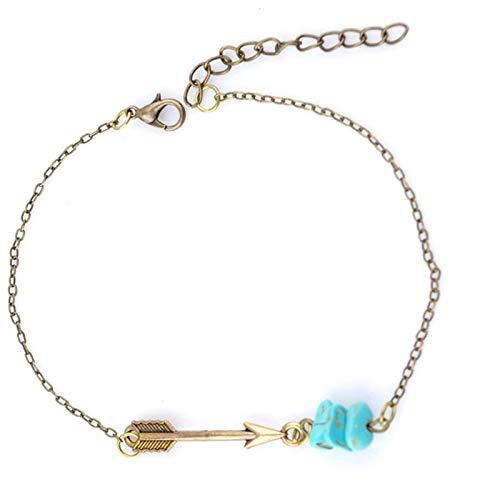 SonMo Armkette Damen Oberarm Armband Manschette Vergoldet Armkettchen Armband Armreif Pfeil Gold Türkis Armband Infinity