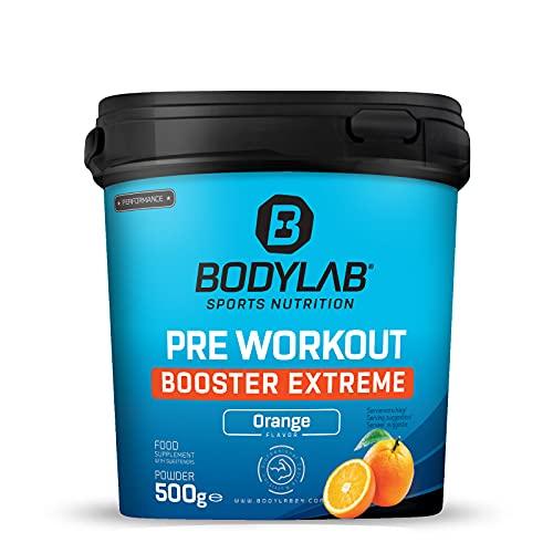 Bodylab24 Pre-Workout Booster Extreme 500g, Power-Formel aus den besten Aminosäure, Vitamin B6 und hochwertigen Pflanzenextrakten, idealer Energy-Booster bei intensivem Training, Orange