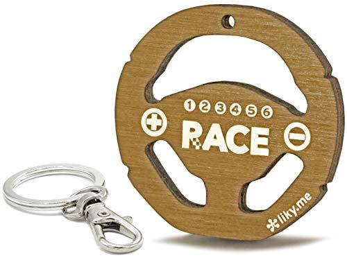 LIKY® Racing Lenkrad Formel 1 - Original Schlüsselanhänger aus Holz Gravur Geschenk Damen Herren Geburtstag Hobby Schmuck Anhänger Tasche Rucksack