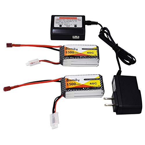 Blomiky 2 Pack 11.1V 1500mAh 35C Lipo Battery with Deans T Plug for RC Airplane, RC Helicopter, RC Car Truck, RC Boat and Quadcopter Drone 11.1V 1500mAh T 2