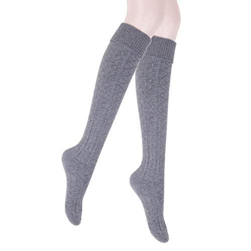 JET-BOND Thick Wool Woollen Cashmere Thigh High Knee Socks Warm Stockings Knit Sweater Thickening Leg Warmers FS03 (Thick Grey)