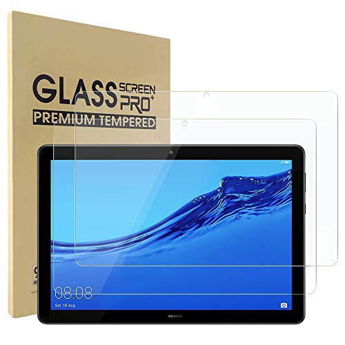 Simpeak 2-Stück Panzerglas Schutzfolie Kompatibel für Huawei MediaPad T5 10.1 [2 Pcs], Hartglas Tempered Glass Screen Protector Kompatibel mit MediaPad T5 - Transparent