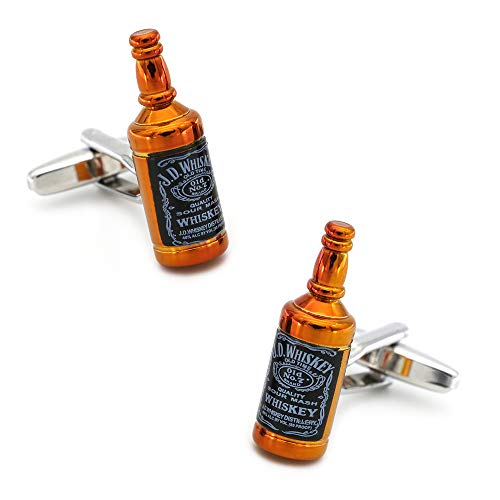 XpFac Store W & Hiskycuff Links para Hombres Botella de Vino Diseño de Calidad Material de latón Color Rojo Gemelos