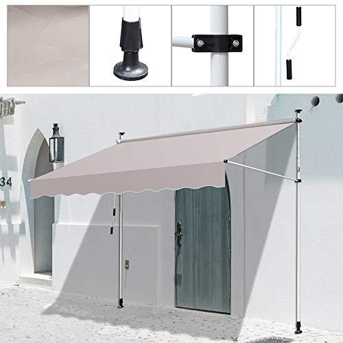 BMOT Klemmmarkise Balkon, 250 x 120 cm Markise Balkonmarkise Sonnenschutz ohne Bohren, mit Handkurbel, UV-beständig höhenverstellbar, aus Metall und Polyester, Beige