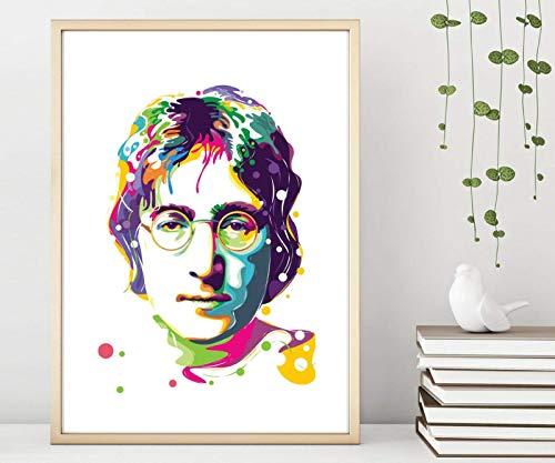 Din A4 Kunstdruck ungerahmt - John Lennon Portrait Ikone Pop Art bunt modern Deko, Geschenk Druck Poster Bild
