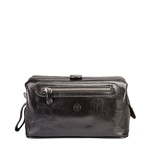 Maxwell Scott¨ Luxury Italian Leather Men's Toiletry Bag Large (DunoL), Black