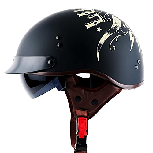 HBRE Retro Moto-Casco Certificado CE,Lente Incorporada Integral Casco De Seguridad Resistente,Transpirable para Deportes Al Aire Libre Hombres Y Mujeres 57-64cm,4,L