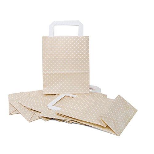 100Buste Regalo Colori gepunktete di carta piccolo beige bianco crema con manico 18x 8x 22cm Sacchetti Give Away ideali come regalo di imballaggio Sacchetti regalo Oste microfibra