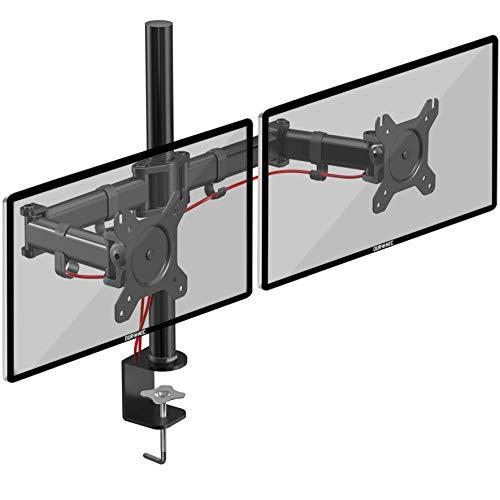 "Duronic DM252 Soporte para 2 Monitores de 13"" a 27"" Pulgadas con Doble Brazo 8Kg máx -Altura Ajustable, Giratorio, inclinable - Soporte para 2 Pantallas Compatible con TV LED LCD"