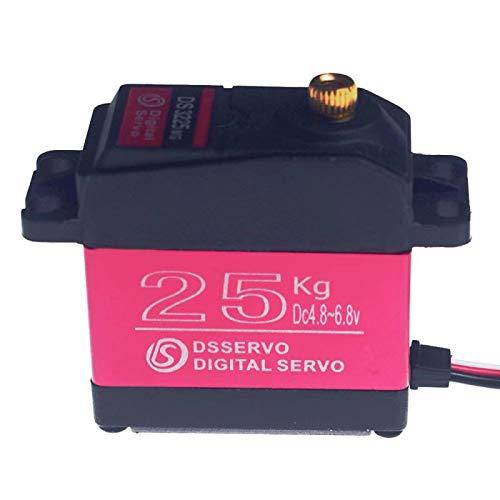 ZOSKAY DS3225 RC Servo Wasserdichtes Aluminiumoberteil Einachsiges Servo Metallzahnrad digitales Servo Baja 25kg Servo für RC Auto (Control Angle 270)