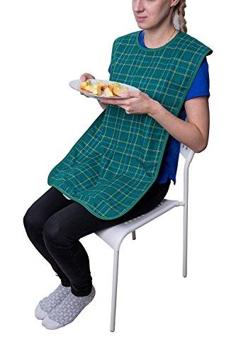 Pflegehome24® Lätzchen für Erwachsene, mit Druckknopfverschluss - grün-kariert