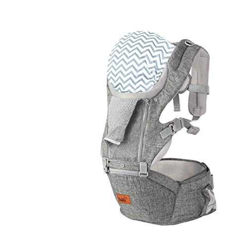 Bable Ergonomische Babydrager | 6 verschillende draagmogelijkheden | Afneembare voorkant | Gewattteerde heupstoel voor meer comfort | Anti-slip oppervlak zitting voor meer stabiliteit | Schermpje tegen inkijk bij borstvoeden | Capuchon ter bescherming tegen de zon en wind | CBME Design Award