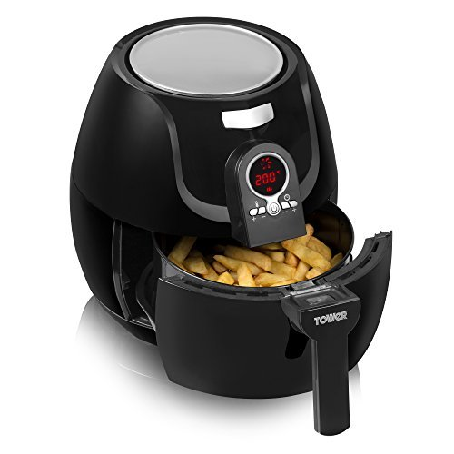 An image of the Tower Low Fat Rapid Air Fryer with Digital Timer, 1400 W, 3.2 L - Black