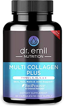Dr Emil Nutrition Multi Collagen Plus Pills  Type I II III V X  for Anti-Aging Hair Skin Nails and Joint Support 30 Day Supply