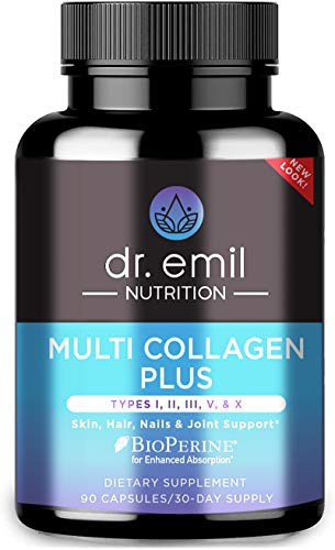 Dr. Emil Nutrition Multi Collagen Plus Pills (Type I, II, III, V, X) for Anti-Aging, Hair, Skin, Nails and Joint Support, 30 Day Supply