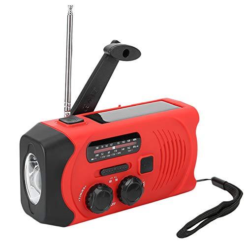 Radio de emergencia Radio de alerta meteorológica Radio de manivela solar, Radio AM / FM / WB con energía solar Manivela multifuncional Linterna LED portátil Alarma SOS con pantalla de energía(EU)