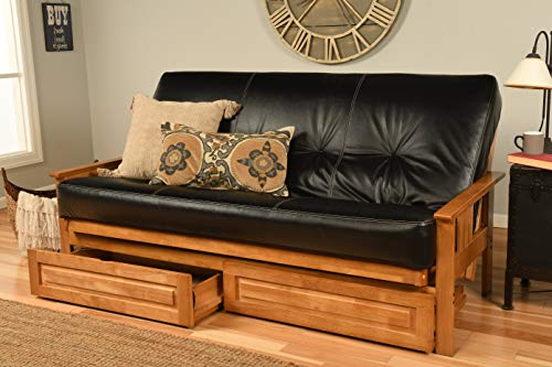 Eldorado Futon Brown Finish Frame w/Coil 8 Inch Mattress Full Size Sofa Bed (Black Leather Matt, Frame w/Drawers Full Size)